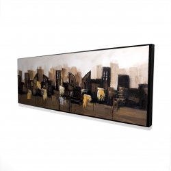 Framed 16 x 48 - 3D - Brown abstract cityscape