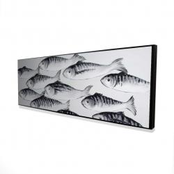 Framed 16 x 48 - 3D - Gray school of fish 1