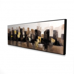 Framed 16 x 48 - 3D - Earthy tones abstract cityscape