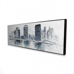 Framed 16 x 48 - 3D - Texturized blue colors cityscape
