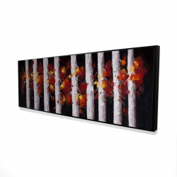 Framed 16 x 48 - 3D - Trees and fall leaves