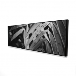 Framed 16 x 48 - 3D - Monochrome tropicals leaves