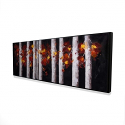 Framed 16 x 48 - 3D - White trees with orange leaves