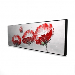 Framed 16 x 48 - 3D - Wild flowers on gray background
