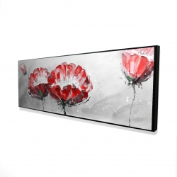 Framed 16 x 48 - 3D - Two wild flowers on gray background