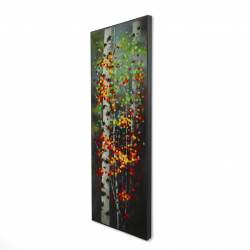 Framed 16 x 48 - 3D - Colorful dotted leaves birches