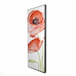 Framed 16 x 48 - 3D - Watercolor poppies