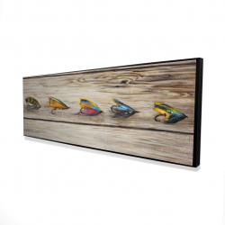 Framed 16 x 48 - 3D - Fishing flies with wood background