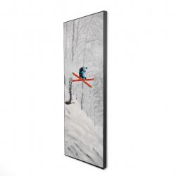Framed 16 x 48 - 3D - Man skiing in steep offpiste terrain