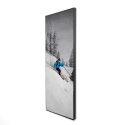 Framed 16 x 48 - 3D - Man skiing in mountain