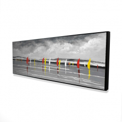 Framed 16 x 48 - 3D - Sailboats on the lake