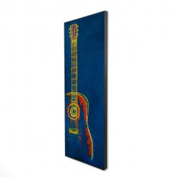 Framed 16 x 48 - 3D - Modern blue abstract guitar