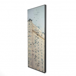 Framed 16 x 48 - 3D - Birds flying in front of a building