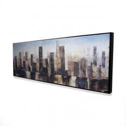 Framed 16 x 48 - 3D - Striped abstract buildings
