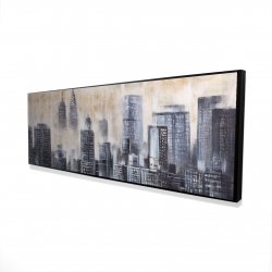 Framed 16 x 48 - 3D - Immeubles au travers des nuages