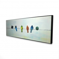 Framed 16 x 48 - 3D - Perched abstract birds