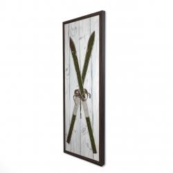 Framed 16 x 48 - 3D - Green vintage skis