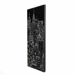 Framed 16 x 48 - 3D - Illustrative city towers