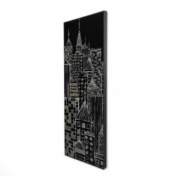 Framed 16 x 48 - 3D - Illustrative city towers