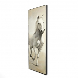 Framed 16 x 48 - 3D - Gallant white horse