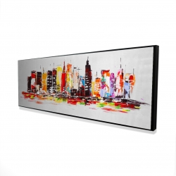 Framed 16 x 48 - 3D - City in bright colors