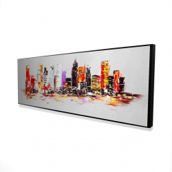 Framed 16 x 48 - 3D - Abstract city in bright colors
