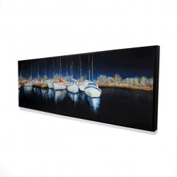 Framed 16 x 48 - 3D - Evening at the marina