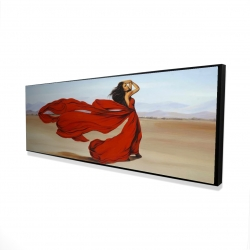 Framed 16 x 48 - 3D - Woman with a long red dress in the desert
