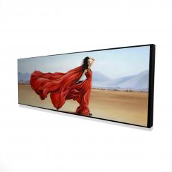 Framed 16 x 48 - 3D - Red dress in the desert