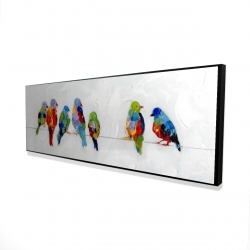 Framed 16 x 48 - 3D - Colorful birds on a wire