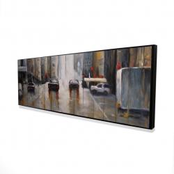Framed 16 x 48 - 3D - Cars in the morning rain