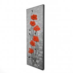 Framed 16 x 48 - 3D - Big red flowers