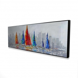 Framed 16 x 48 - 3D - Colorful boats near a gray city