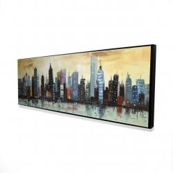 Framed 16 x 48 - 3D - Skyline on abstract cityscape