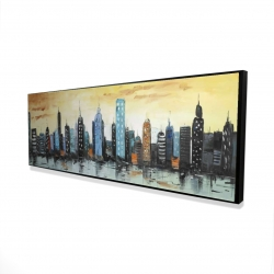 Framed 16 x 48 - 3D - Skyline on cityscape