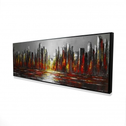 Framed 16 x 48 - 3D - Abstract red skyline