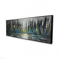 Framed 16 x 48 - 3D - Abstract blue skyline