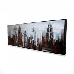 Framed 16 x 48 - 3D - Gray day in the city