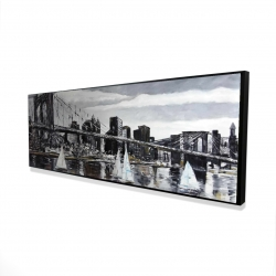 Framed 16 x 48 - 3D - Brooklyn bridge with sailboats