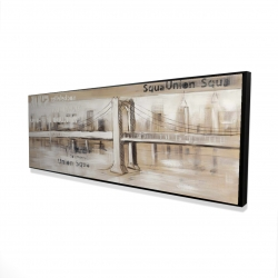 Framed 16 x 48 - 3D - Abstract bridge with typography