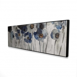 Framed 16 x 48 - 3D - Blue blurry flowers