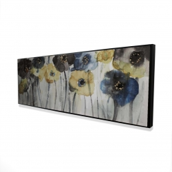 Framed 16 x 48 - 3D - Gray blue and yellow flowers
