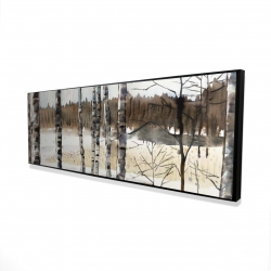 Framed 16 x 48 - 3D - Winter swamp