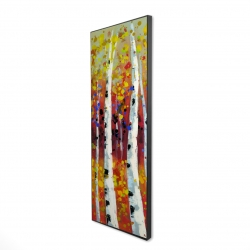 Framed 16 x 48 - 3D - Colored birches