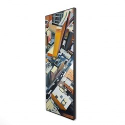 Framed 16 x 48 - 3D - High top view of buildings in new york