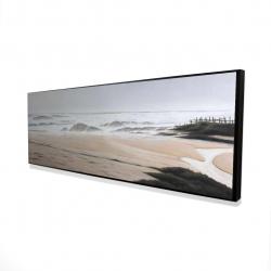 Framed 16 x 48 - 3D - Cloudy at the beach