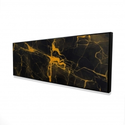 Framed 16 x 48 - 3D - Black and gold marble texture