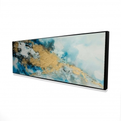 Framed 16 x 48 - 3D - Blue and gold marble