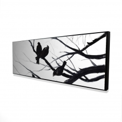 Framed 16 x 48 - 3D - Birds and branches silhouette