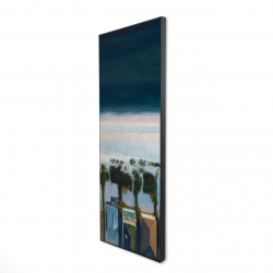 Framed 16 x 48 - 3D - Bird's eye view of beach